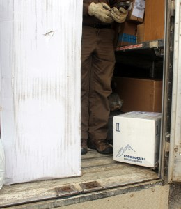 Box on UPS truck