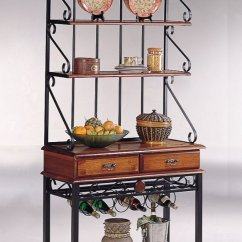 Metal Kitchen Rack High Tables Coaster Brown Sandy Black Finish Wood Baker S Brownsandy Wdrawers