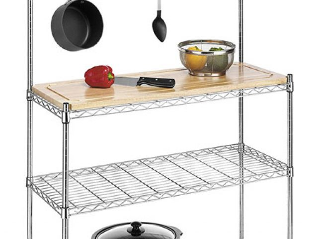 kitchen bakers rack back splash for racks collection the biggest of whitmor supreme wood chrome review