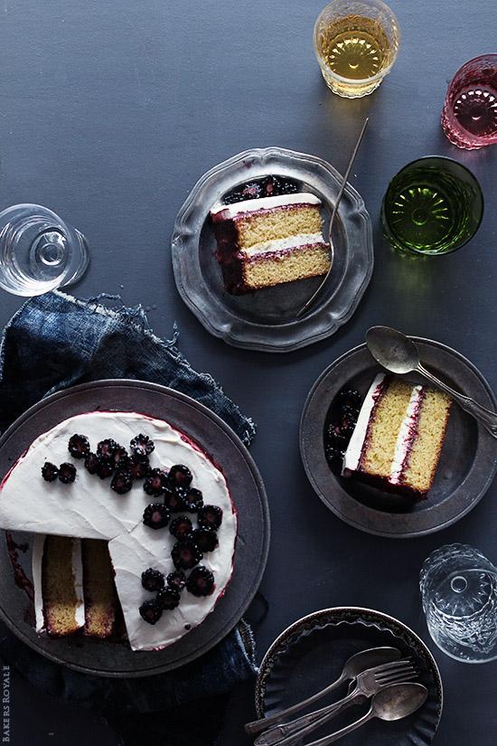 Black Tea Cake with Blackberry Lime Jam & Honey Whipped Cream
