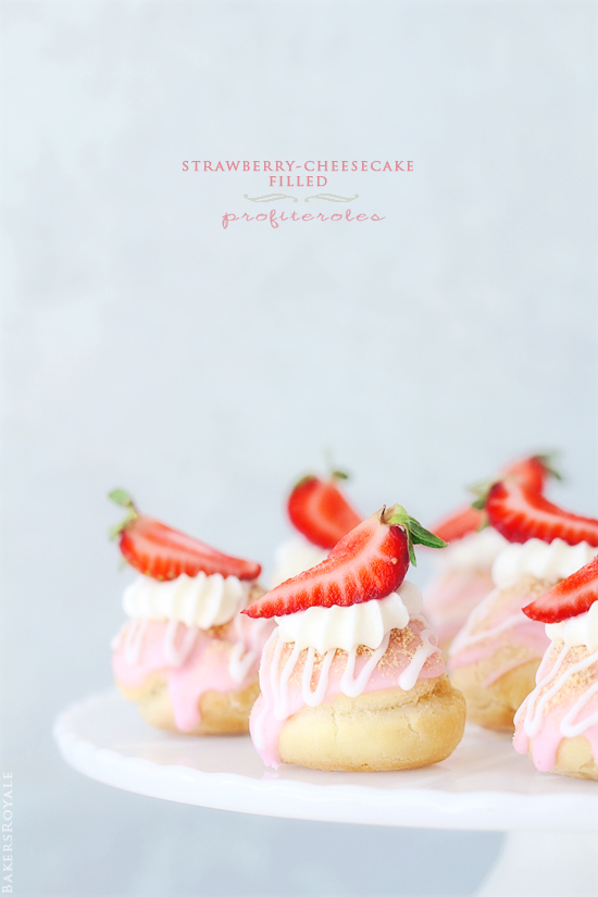 Strawberry Cheesecake Profiteroles on BAKERS ROYALE