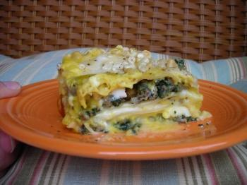 Acorn Squash Bechamel Lasagna with Sage Sausage and Spinach by Kathy