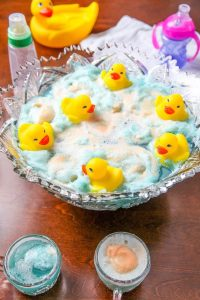 Super Frothy Blue Baby Shower Punch With Ducks
