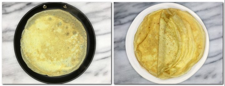 Photo 5: Ready crepe in a pan Photo 6: Stack of crepes on a white plate