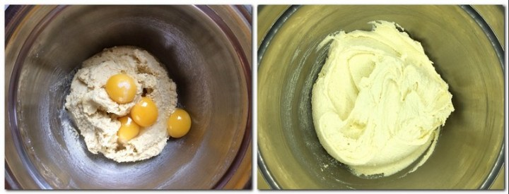 Photo 1: Butter/almond flour/sugar mixture in a bowl; Photo 2: A whole egg and egg yolks added to the preparation in a bowl