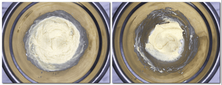"Photo 1: Cooked milk/butter/flour mixture in a bowl Photo 2: ""Dried"" mixture in a bowl"