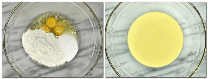 Photo 1: Eggs and dry ingredients is a bowl Photo 2: Whisked mixture in a bowl