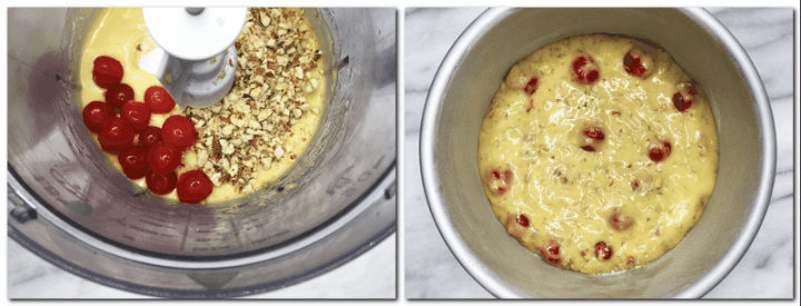 Photo 3: Cherries and chopped almonds on top of the cake preparation in the bowl of a stand mixer Photo 4: Cake batter in a cake pan