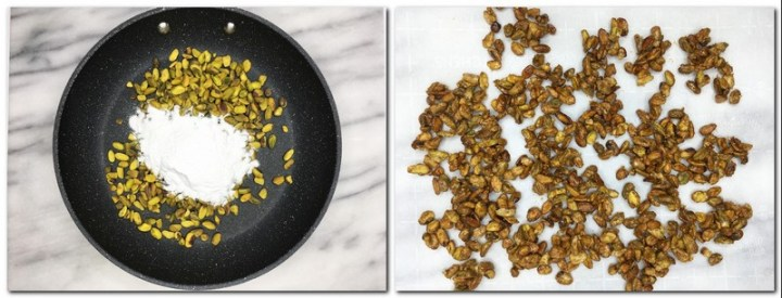 Photo 3: Pistachios and icing sugar in a pan Photo 4: Caramelized pistachios on parchment paper