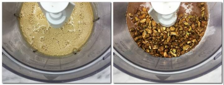 Photo 5: Eggs/sugar mixture in the bowl of a stand mixer Photo 6: Caramelized pistachios on top of the chocolate mixture