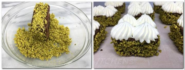 Photo 11: Sprinkling edges of brownies with ground pistachios Photo 12: Decorated brownie cakes on parchment paper