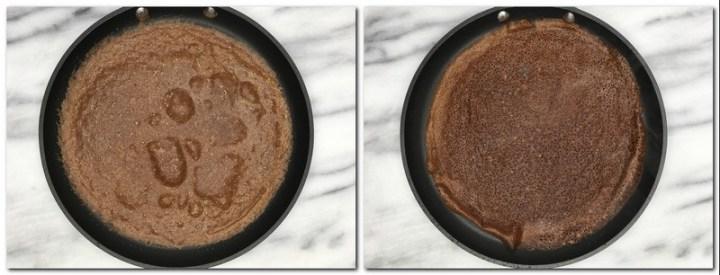 Photo 3: Crepe on a crepe pan Photo 4: Flipped crepe on a pan