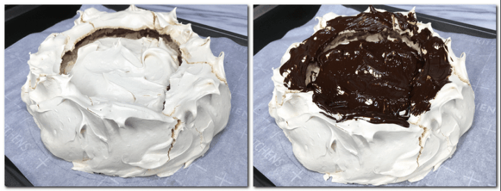 Photo 5: Baked meringue on the parchment paper Photo 6: Meringue nest with a layer of chocolate on the parchment paper