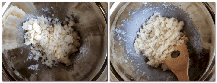 Photo 1: Coconut mixture in a bowl Photo 2: Heated mixture in a bowl over a bain marie