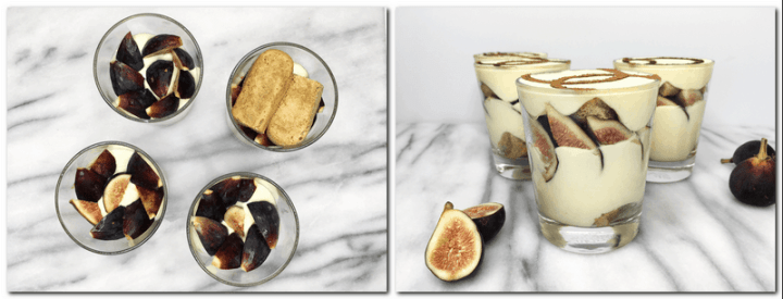 Photo 3: Arranged fig slices and ladyfingers in glasses: Bird view Photo 4: Glasses with the ready dessert and figs on background