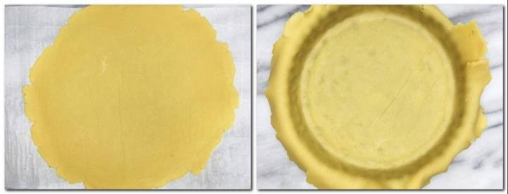 Photo 3: Rolled pastry dough on parchment Photo 4: Tart pan with the lined pastry