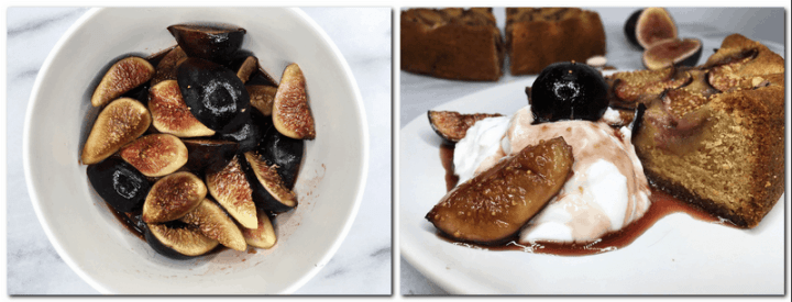 Photo 7: Figgy sauce with fig slices in a white bowl Photo 8: A white plate with the served piece of cake accompanied with Greek yogurt and figgy sauce. Fig cake and fig slices on background