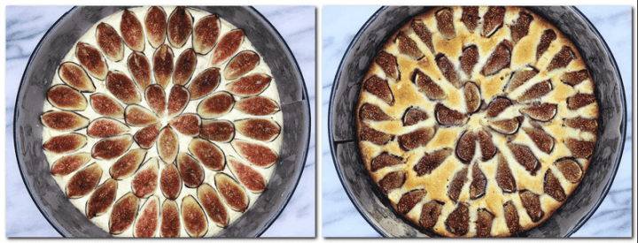 Photo 5: Cake pan with cake batter and fig slices on top Photo 6: Cake pan with baked Fig cake
