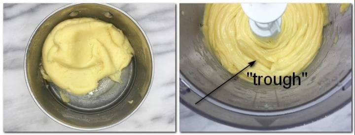 Photo 3: Choux pastry dough being dried out in a pan Photo 2: Ready choux dough in the bowl of a stand mixer