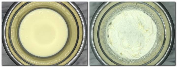 Photo 7: Whipping cream with melted chocolate in a bowl Photo 8: Ready Chantilly cream in a bowl
