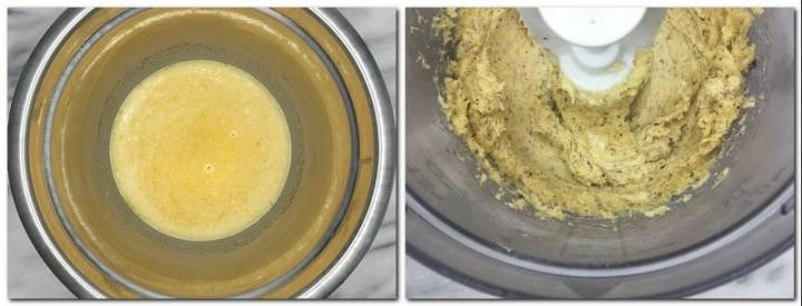 Photo 1: Filling in a metal bowl Photo 2: Half way made dough in the bowl of a stand mixer