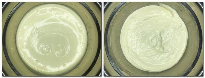 Photo 3: Whisked eggs/sugar mixture in a bowl Photo 4: Ready cake batter in a bowl