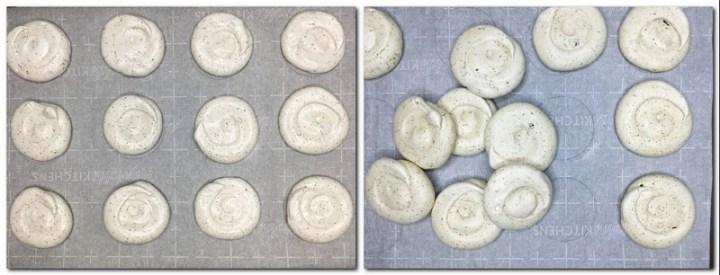 Photo 3: Meringue spirals on parchment paper Photo 4: Baked meringues on parchment