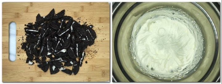 Photo 5: Large pieces of Oreo cookies on a wooden board Photo 6: Whipped cream in a bowl