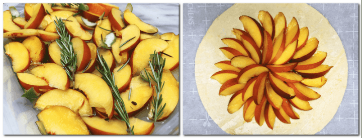 Photo 1: Sliced peaches with rosemary and lime peel in a glass bowl Photo 2: A circle of the puff pastry with sliced peaches in the center