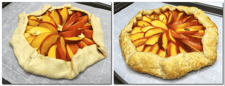 Photo 3: Folded puff pastry with sliced peaches and butter cubes in the center of the pastry Photo 4: Baked galette on a baking sheet lined with parchment paper
