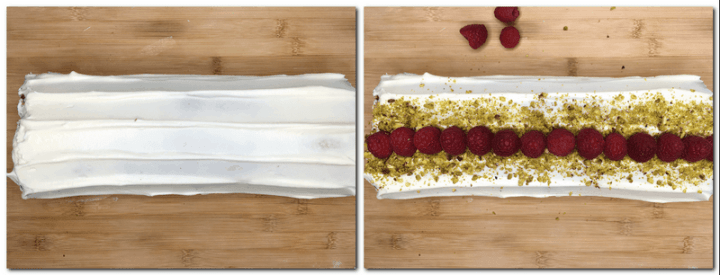 Photo 11: Rolled cake covered with the cream on a wooden board Photo 12: Decorated Pistachio Roulade on a wooden board