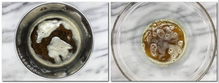 Photo 1: Brown butter in a saucepan Photo 2: Ready brown butter in a glass bowl