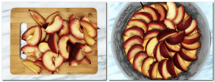Photo 5: Plum slices on a cutting board Photo 6: Plum slices arranged on top of the biscuit