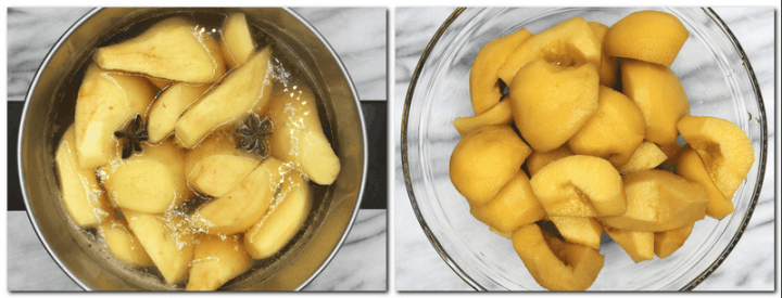 Photo 1: Quinces covered with a liquid in a pan Photo 2: Drained quinces in a glass bowl