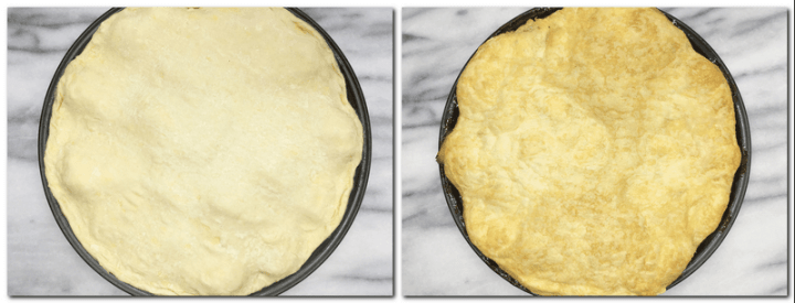 Photo 5: Quinces covered with a circle of dough Photo 6: Baked Quince Tarte Tatin in a pan