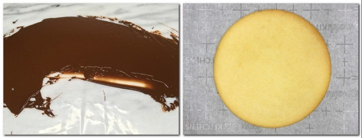 Photo 7: Spread of dark chocolate on a plastic sheet Photo 8: Baked tart crust on parchment