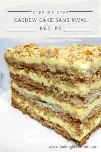 A quarter of cake Sans Rival on a marble board