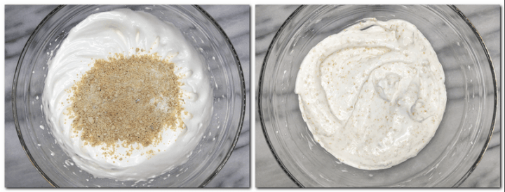 Photo 1: Chopped cashews on top of the meringue in a bowl Photo 2: Ready meringue