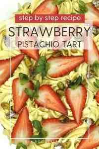 Decorated Strawberry Pistachio Tart: Oblique view