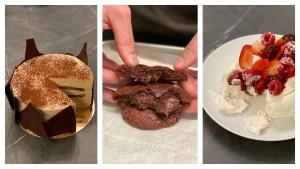 coffee chocolate cake, flourless chocolate cookie,and a strawberry pavlova