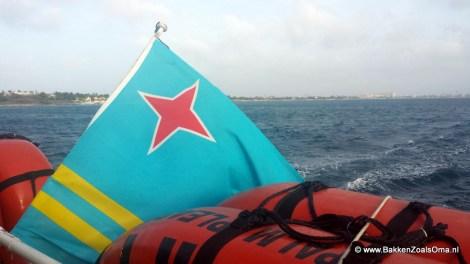 Arubaanse vlag, bandera di Aruba, Palm tours sunset sail