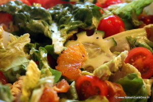 Close-up salade met bloedsinaasappel