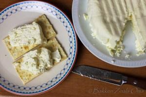 Witte venezolaanse kaas op crackers