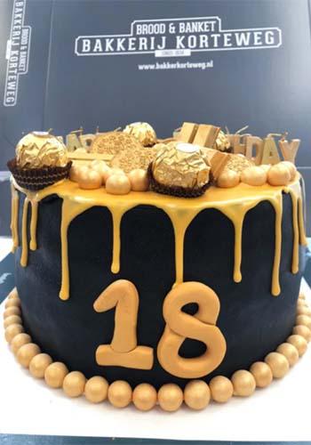 verjaardagstaart zwart met goud2