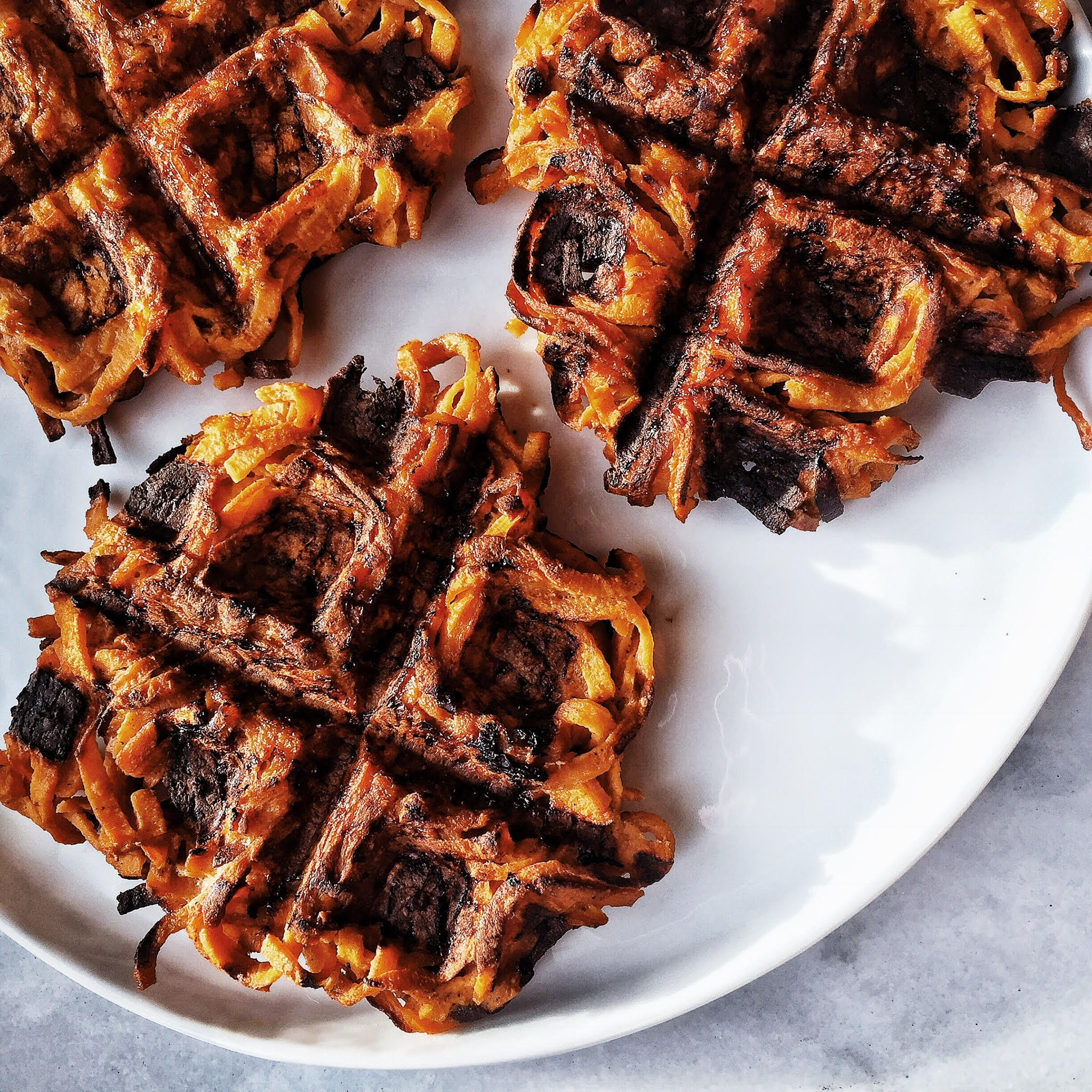 6 Ingredient Spiralized Sweet Potato Waffles