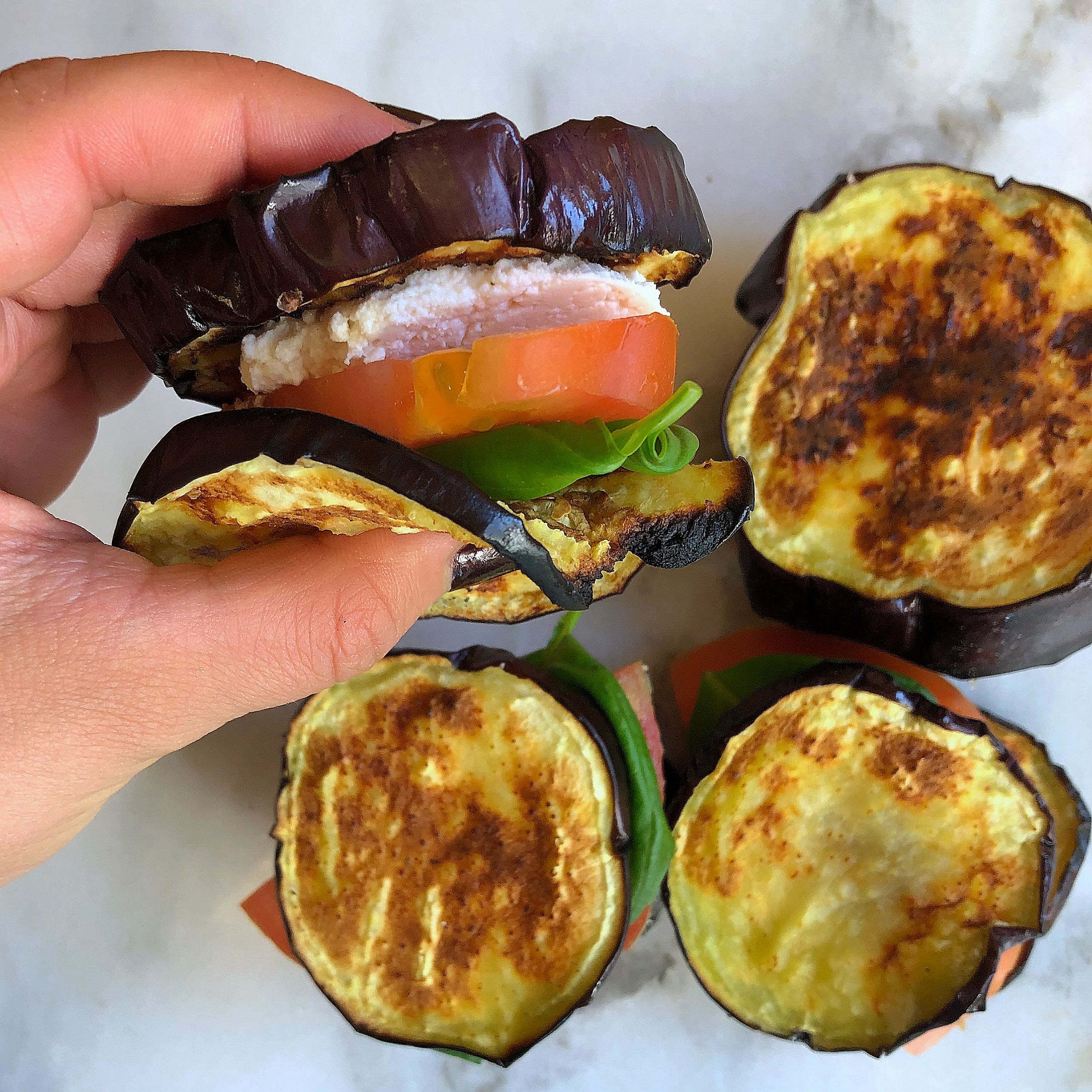 Whole30 Roasted Eggplant, Cashew, Tomato Sandwich
