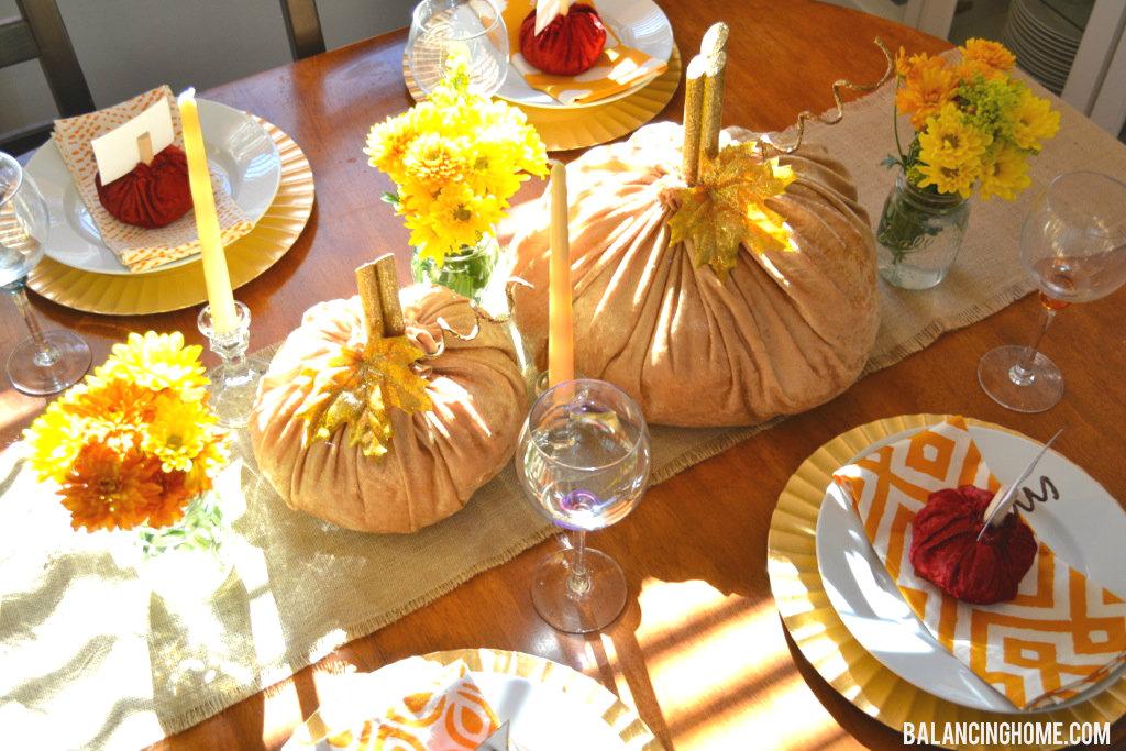 Velvet Pumpkin Place Card Holder Amp Thanksgiving Table Balancing Home
