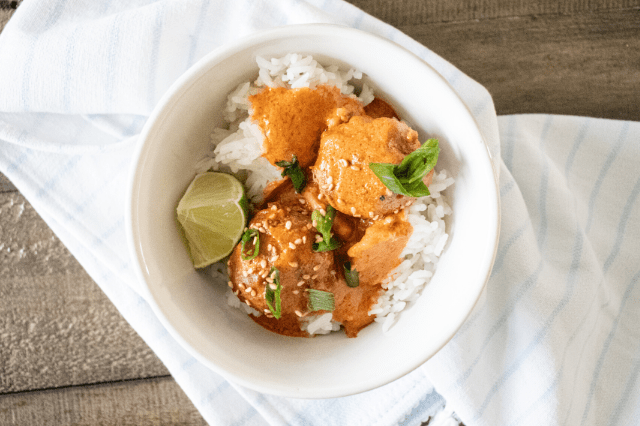 Thai Turkey Meatballs w: Red Curry Sauce