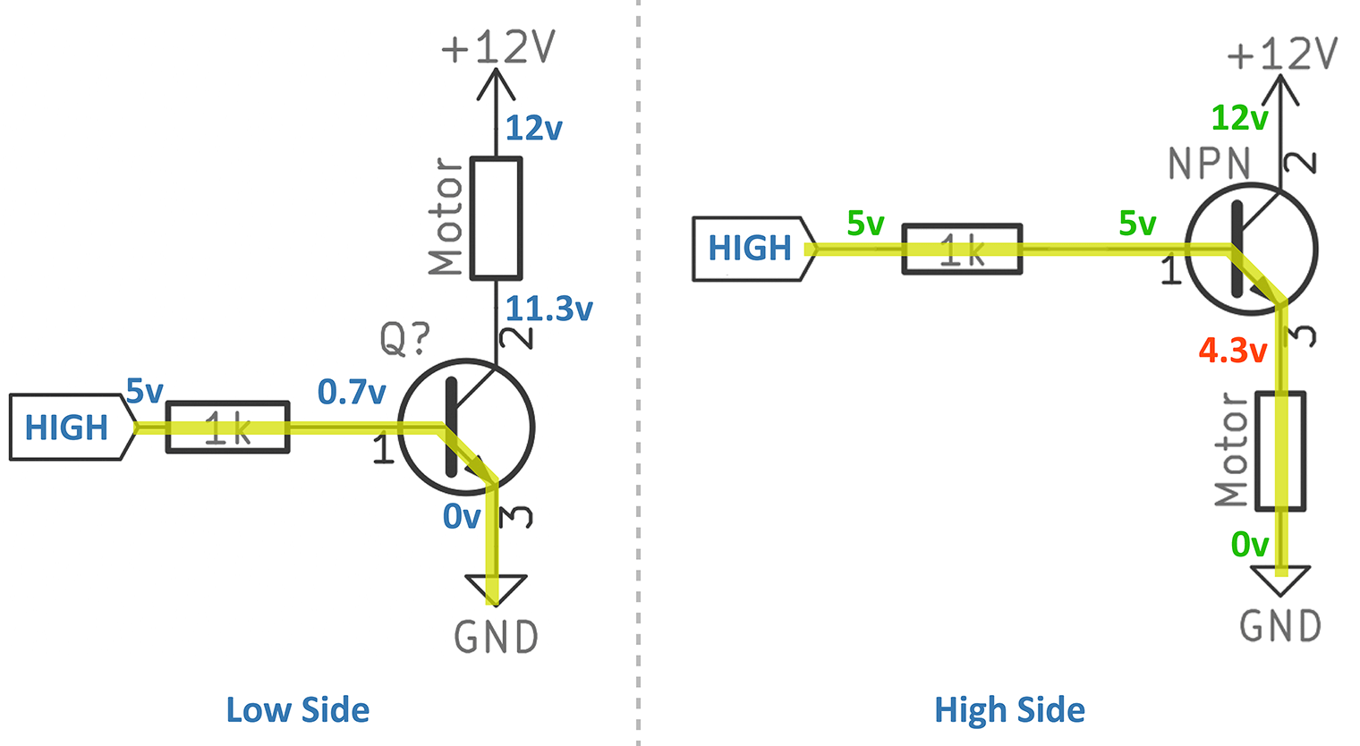 hight resolution of npn low side vs high side switch