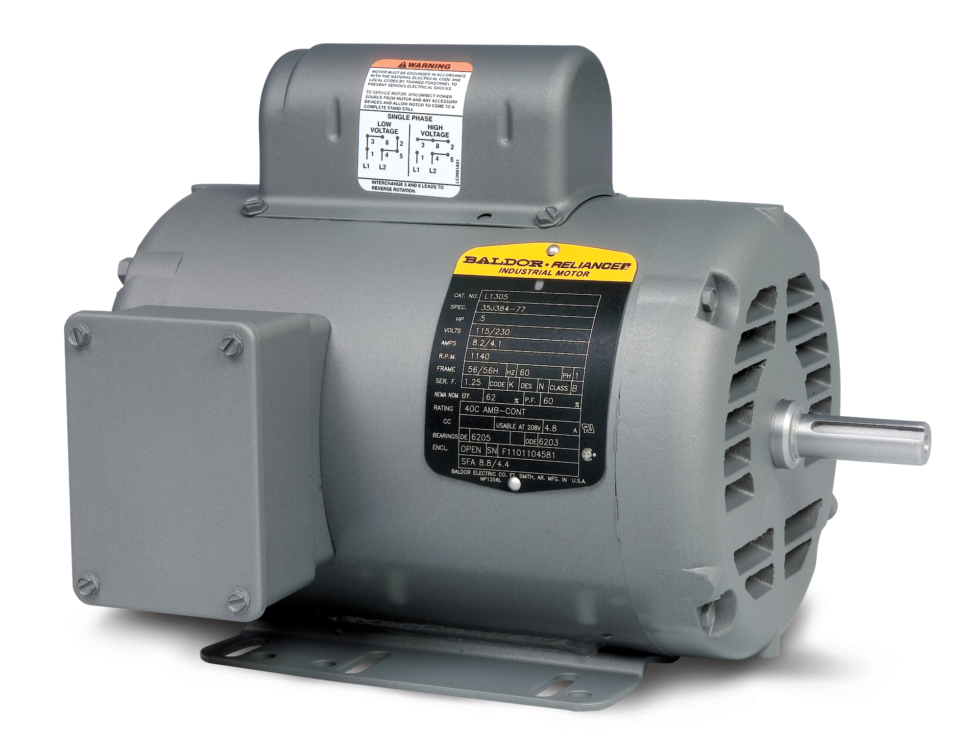 small resolution of l1319t product catalog baldor com 230 volt electrical wiring diagram 1 5hp baldor wiring diagram 115 230